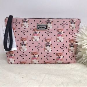 Betsey Johnson Corgi Dog Cosmetic Bag Wristlet NEW